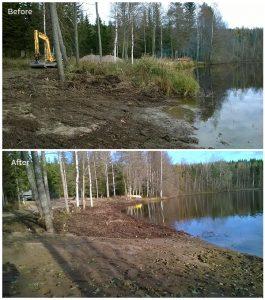 Ennen ja jälkeen kuvat järven rannan siistimisestä.