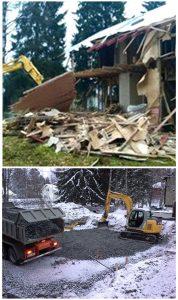Kuva rakennuksen purkamisesta ja alueen tasoittamisesta